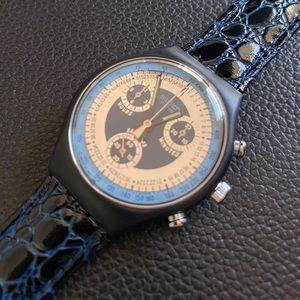Swatch Accessories - SWATCH 1992 Chrono Retro Collectors Leather Watch